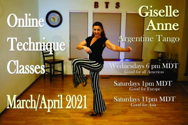 Online Technique classes <br>twice a week- check your time zone <br>You don't need a partner. These are classes for Leaders & Followers to work alone on the technique of the tango moveme..